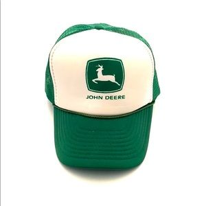 John Deere White Foam Green Mesh Snapback Trucker